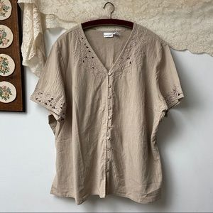 Vintage Eyelet Button Down Top